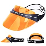 Outdoor uv Sun Visors Hat,Summer Plastic Visor with a Adjustable Headband Suitable for Cycling Riding Fishing Football.(2-Orange)
