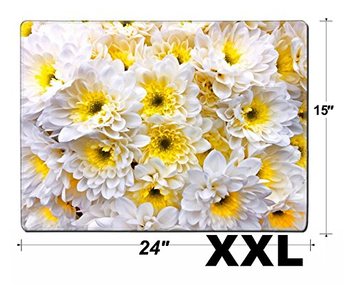 MSD Extra Large Mouse Pad XXL Extended Non-Slip Rubber Large Gaming Desk Mat Image ID 23898002 Bouquet of White gerbers Floral Pattern