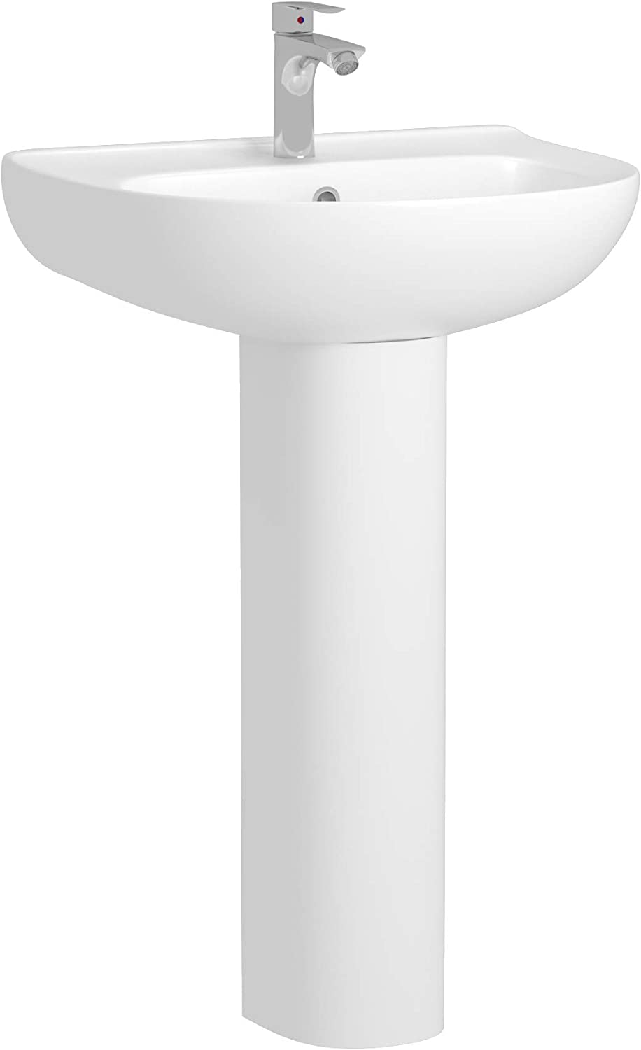 Bathroom Breeze 520mm Round Floor Standing Full Pedestal Ceramic Wash Basin and 1 Tap Hole