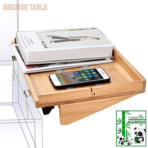 Bedside Caddy Table Organizer Shelf Non-slip Floating Bamboo Table/Shelf Need No Tools for Bunk Beds, College Dorms, Lofts Beds, Headboards, Nighstands by TJ.MOREE