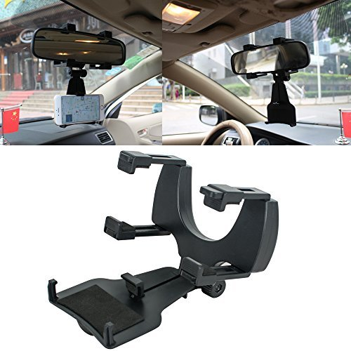 (Vinmax Auto Car Rearview Mirror Mount Stand Holder Cradle For Most Phones GPS Universal Windshield Dashboard Black)