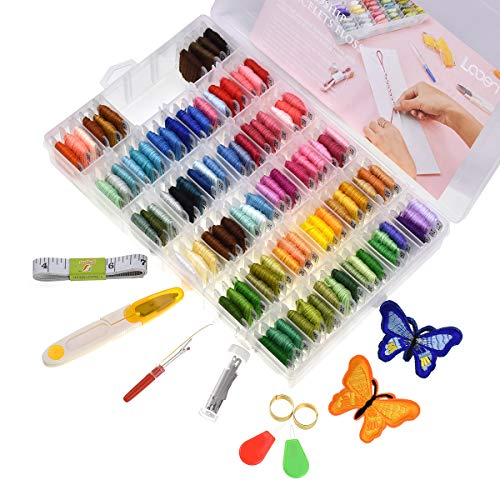 Looen 100 Colors Embroidery Floss with Organizer Storage Box Friendship Bracelet Floss - Prewound Floss Plastic Bobbins with Color Number Craft Thread Weaving String Include 41 Pcs Cross Stitch Kit ()