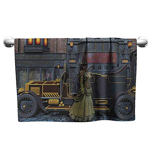 Bensonsve Pattern Hand Towels Victorian,Lady Wearing Old Style Dress and Vintage Car in Street Mechanic Industrial Era Print, Multi,Sweat Towel for car seat