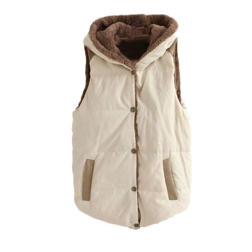 DEATU Women Casual Hooded Button Vest Outwear Sale, Lady Warm Thick Coat Cotton Blend Padded Slim Jacket(Beigr,Medium)
