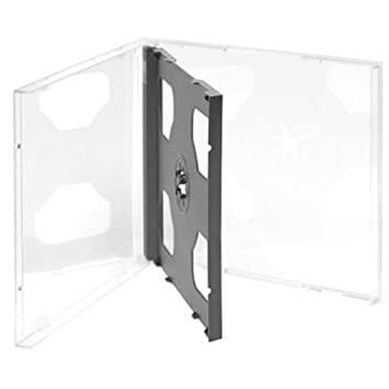 Four Square Media 5 x CD DVD doble estuches 10,4 mm para 2 disco con bandeja negra - 5 unidades