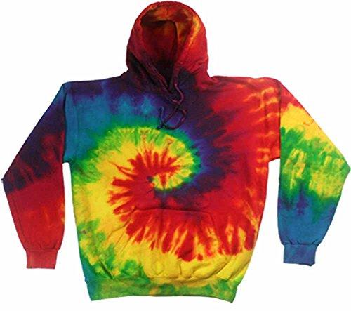 Colortone Tie Dye Hoodie SM Reactive Rainbow (Rainbow Sweatshirt Adult)