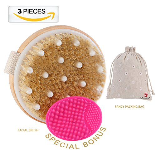 Dry Brushing Body Brush,Natural Boar Bristle Cellulite Brush Body Brush, Remove Dead Skin And Toxins, Cellulite Treatment, Improves Lymphatic Functions, Exfoliates, Stimulates Blood Circulation