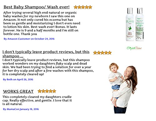 Organic Baby Shampoo - For Cradle Cap, Eczema, Sensitive Skin and More- Itchy Scalp Relief Moisturizes Away Dryness and Flakes - Relieves Irritation 8z