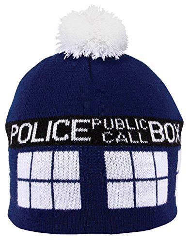 UHC Doctor Who Tardis Pom Beanie Cap Hat Halloween Adult Costume Accessory]()