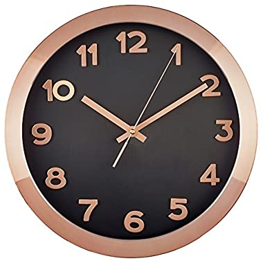 Bernhard Products - Large Wall Clock, 14  Rose Gold/Copper and Black Wall Clock with 3D Number Details- Quality Quartz, Battery Operated - Metal and Glass Oversized Clock