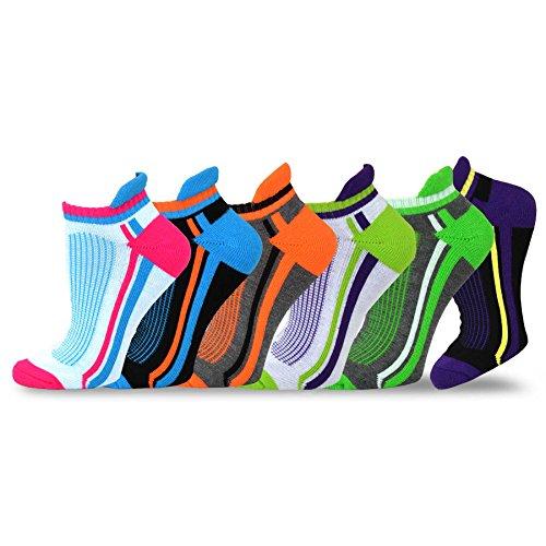 (Teehee Women Cushioned Low Cut Socks 6-Pack (Fashion Tab))