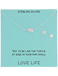 Sterling Silver Turtle Necklace and Earrings Jewelry Set