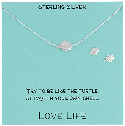 Sterling Silver Turtle Necklace and Earrings Jewelry Set, 18