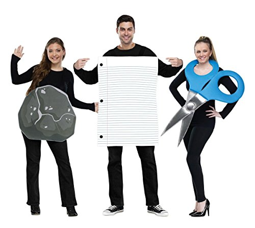 Halloween Costumes For A Group Of Three (Fun World Men's Rock Paper Scissors Costume, Multi,)