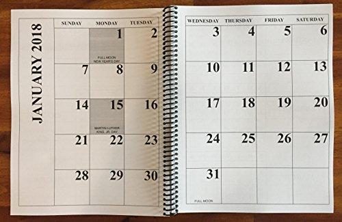 Jumbo Large Print 2018 Desktop Calendar 13-months, with January 2019 - 17