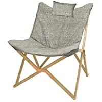 Modern and Crafted in a Butterfly Shape Linen Chair with Wooden Legs, Linen Grey