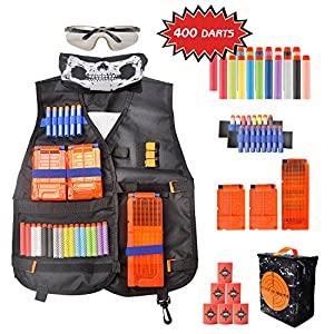 Newest Tactical Vest Kit for Kids with Blood Meter,Snap Clip for Nerf Guns N-Strike Elite Series, 400 Refill Darts, 3 Reload Clips, Goggles, Mask, Wrist Band,EVA Bullet Target, Packed in Target Pouch