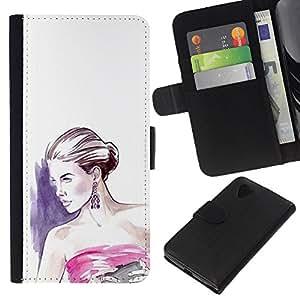 Stuss Case / Funda Carcasa PU de Cuero - Vestido blanco púrpura - LG Nexus 5 D820 D821