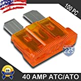 100 Pack 40 AMP ATC/ATO Standard Regular Fuse Blade 40A Car Truck Boat Marine RV