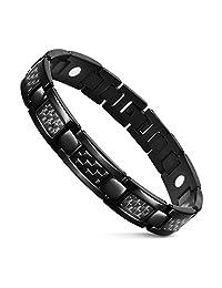 Black Carbon Fiber Men Link Bracelet Stainless Steel with Magnetic Therapy Bracelet by JFUME