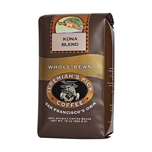 - Jeremiah's Pick Coffee Kona Blend, Light Roast Whole Bean Coffee, 10 Ounce Bag