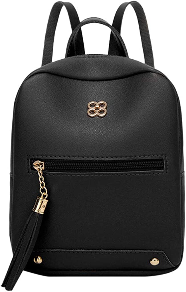 LANGMAN Tassel Shoulder Leather Backpack Mini Backpack Purse