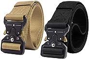 2 Pack Tactical Belt, Nylon Belt, Military Style Webbing Riggers Web Belt Heavy-Duty Quick-Release Metal Buckl