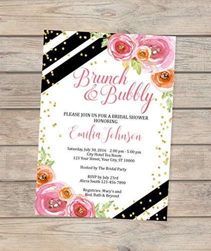 amazon com brunch and bubbly bridal shower invitation black and