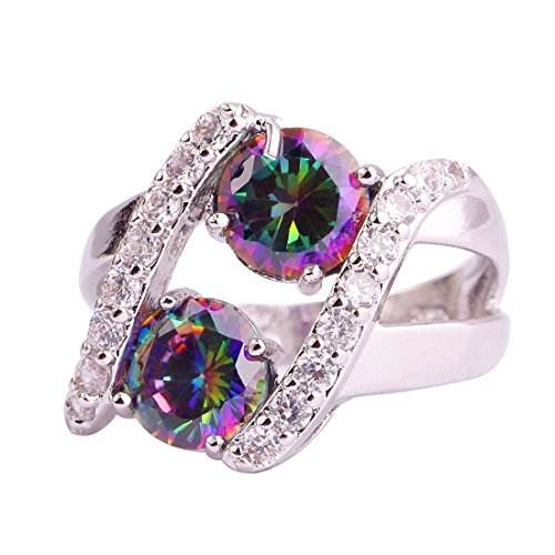 Psiroy Created Rainbow Topaz Gemstone Split Shank Swirl Anniversary Ring for - Swirl Ring Stone