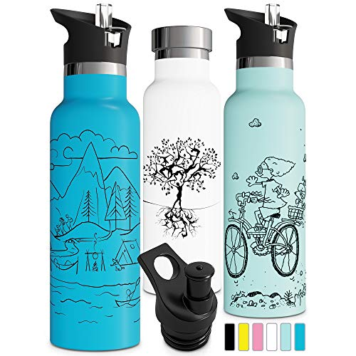 Blue Insulated Water Bottle with Straw Sports Cap Double Walled Vacuum Insulated Stainless Steel Eco Friendly Sweat Proof Durable Powder Coated Finish 25 oz BPA Free Thermos