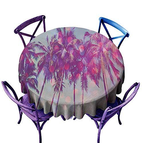 - Tablecloth for Kids/Childrens,Nature Palm Trees Hawaiian Tropic Seashore Beach Californian Miami Sunbeams Image,Table Cover for Home Restaurant,35 INCH,Fuchsia Purple Green