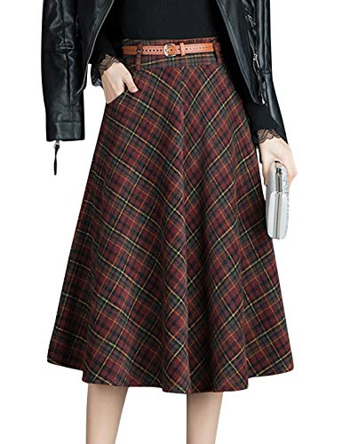 Tanming Women's Winter Warm High Waist Plaid A-Line Pleated Midi Skirt with Belt (Red, Small) (Red Plaid Wool Skirt)