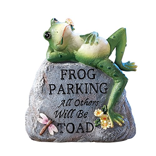 Collections Etc Frog Parking Only Hand-Painted Decorative Garden Stone with Pun - Outside Yard Décor, Grey