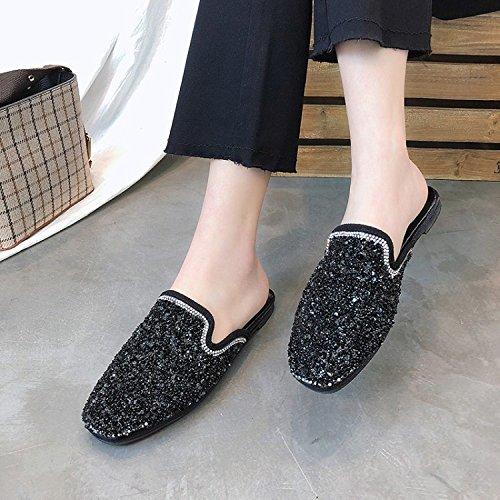 Strass JIA Mode Black Plate Tête Cool Pantoufles Nouveau 35 Coréenne Chaussures 36 HONG Silver Chausson Mules été Baotou Chaussures Printemps Demi r5EFqwr