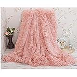 Yiyida Shaggy Blanket Throws for Sofa Bed Long Faux Fur Cozy Fleece Blanket, Warm Super Soft Comfort Caring Gift, 160 x 200cm (Pink)