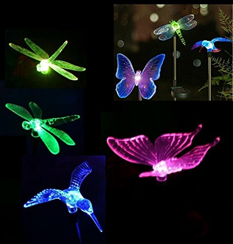Hummingbird Garden Kit (SZMINILED Color Changing Solar Powered LED Garden Stake Lights - Hummingbird & Butterfly & Dragonfly Kit For Outside Garden Patio Yard Lawn Lighting)
