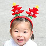 Ximandi Christmas, Xmas Cute Hair Clips Baby Girls Christmas Tree Head Hoop (Red)