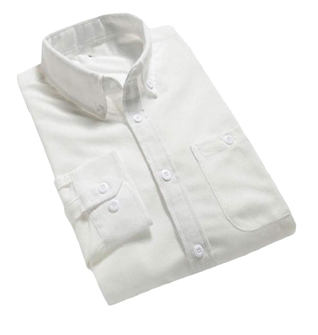 YUNY Mens Peaked Collar Long-Sleeve Plus-Size Corduroy Trim-Fit Shirts White 3XL