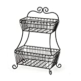 Countryside 2-Tier Flat-Back Metal Basket Antique Black