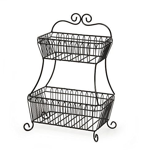 Countryside 2-Tier Flat-Back Metal Basket Antique Black by Magic Tech