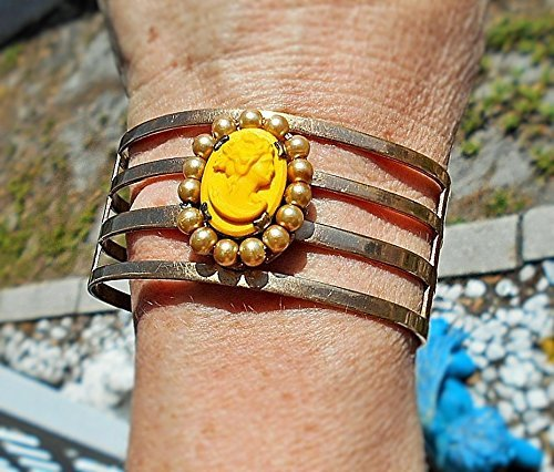 Antique Cameo Yellow Glass & Celluloid Cameo Exquisitely Detailed Art Deco on Brushed Gold Tone Setting 4 Band Cuff with Faux Pearls Surround That I Added.