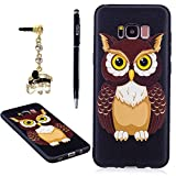 YOKIRIN Galaxy S8 Plus Case,Colorful Printed Embossing Pattern Soft Silicone TPU Rubber Slim Fit Shock-Absorption Full Edge Protective Cover for Samsung Galaxy S8 Plus with Dust Plug & Pen,Owl