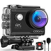 COOAU 4K 20MP Wi-Fi Action Camera External Microphone Remote Control EIS Stabilization Underwater 40M Waterproof Sport…
