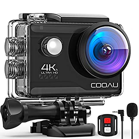 - 51GH5C73RjL - COOAU 4K 20MP Wi-Fi Action Camera External Microphone Remote Control EIS Stabilization Underwater 40M Waterproof Sport Camera Time Lapse with 2X1200mAh Batteries and 20 Accessories
