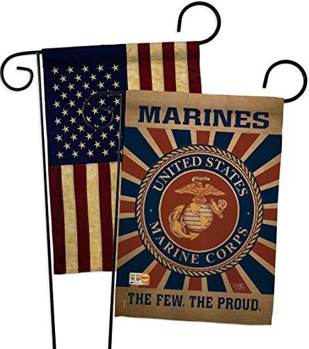 Breeze Decor GP108398-BOAA Marine Corps Burlap Americana Military Impressions Decorative Vertical 13