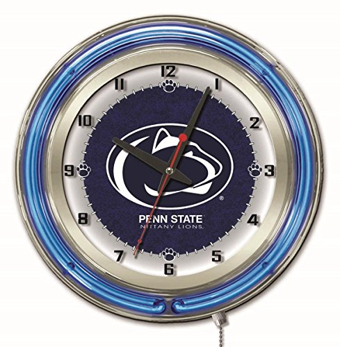 Penn State Nittany Lions HBS Neon Blue College Battery Powered Wall Clock - Penn Clock State Wall