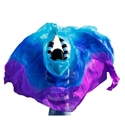 Nimiman New Arrival Women Belly Dance Silk Veils On Sale Turquoise Blue Purple (M)