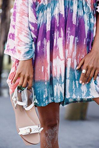 CP 8 Estate lunghe Color Donna di CF copri per copricostume Kimono a bikini Cardigan la per maniche Chiffon spiaggia CFwZq