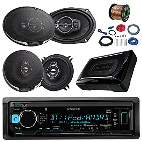 Kenwood KMMBT315U Bluetooth AM/FM Car Stereo Receiver Bundle Combo With 2x 6x9