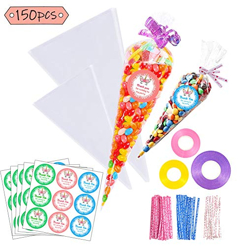 Jatidne 150pcs Clear Cellophane Bags Cone Bags for Treat Candy Popcorn Bags for Party with Ties, Stickers, Ribbons